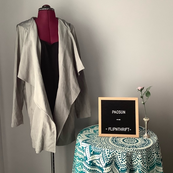 PacSun Jackets & Blazers - NWOT PACSUN Gray Suede Hooded Jacket